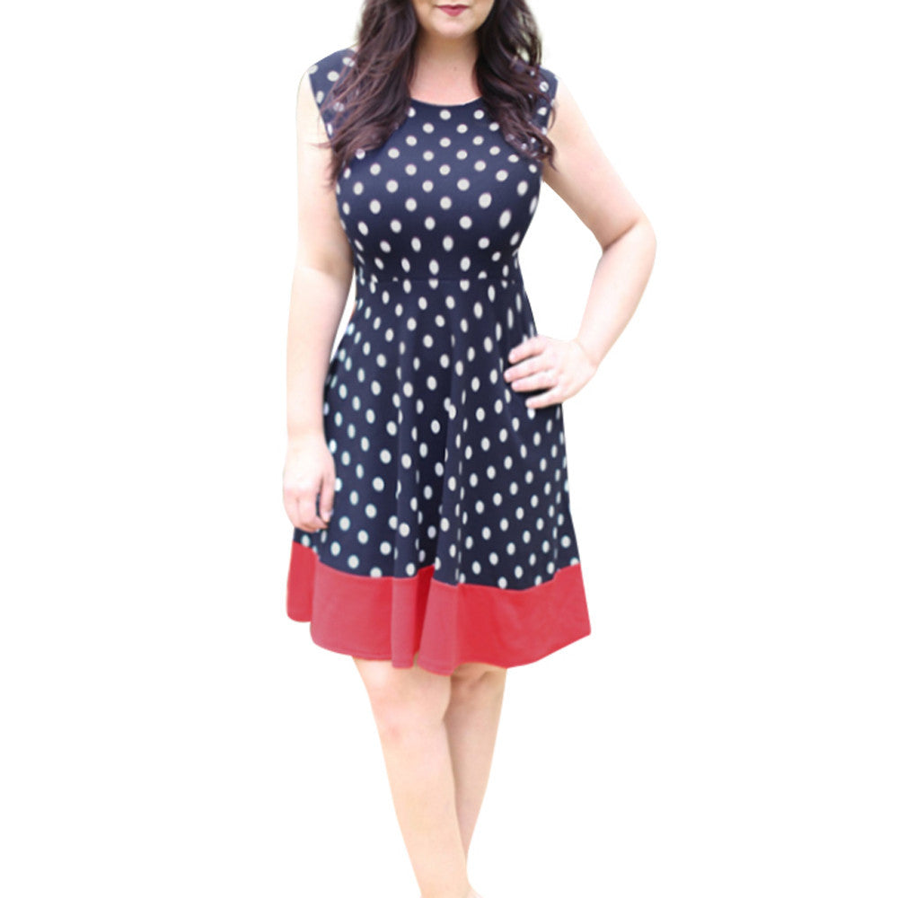 Sleeveless Dot Print Dress - roshanthy