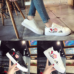 Flower Embroidered  Leisure Sneakers - roshanthy