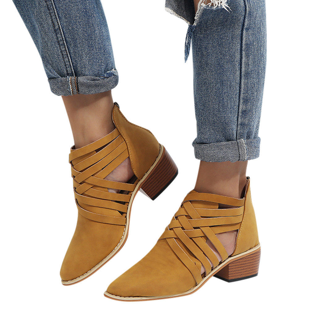 Cross Striped Short Boots - roshanthy