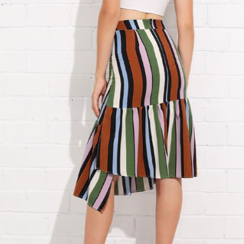 Diagonally Striped Multi-colour Skirt - roshanthy