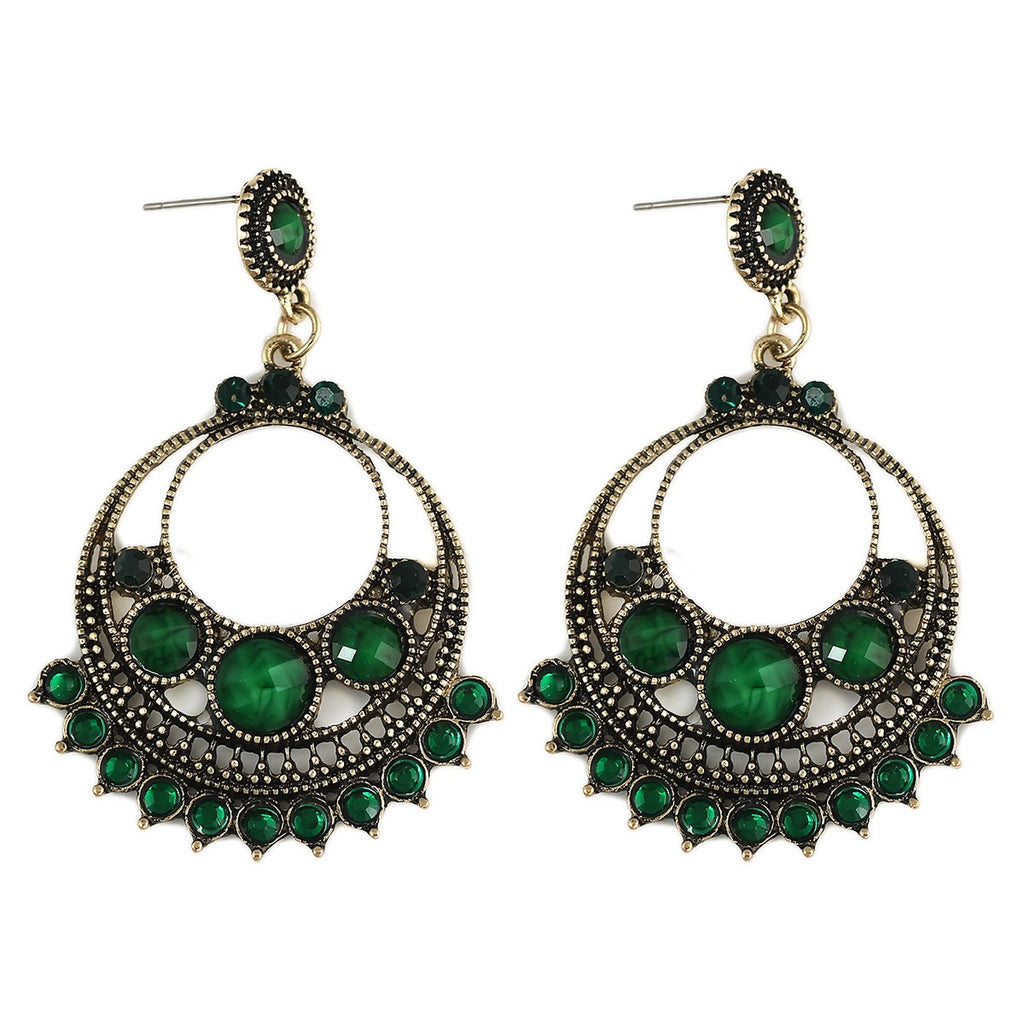 Emerald Colour Stud Earrings - roshanthy