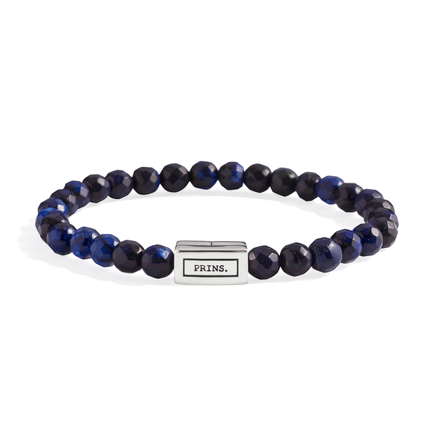 The Brick - Marine blauw agaat armband (6mm)