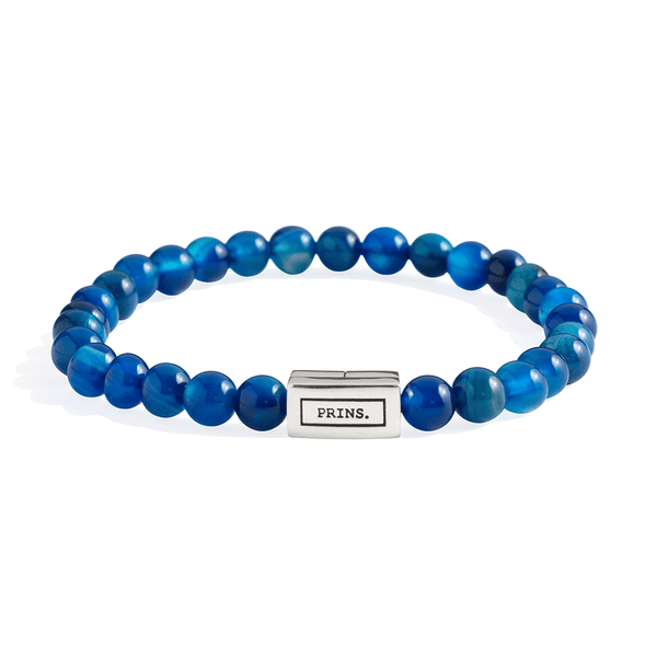 The Brick - Blauw agaat armband (6mm)