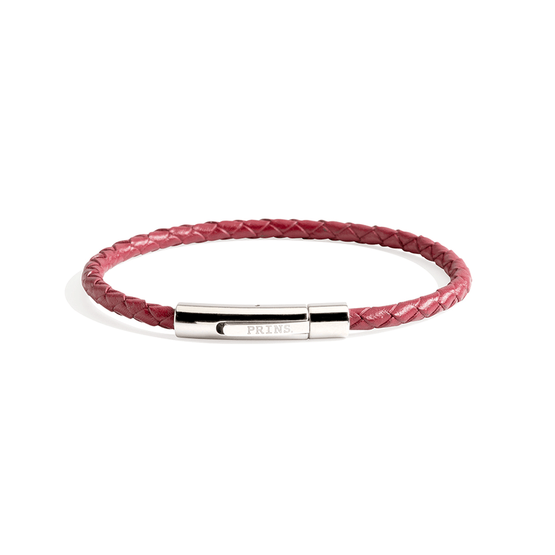 The Minimal - Bordeaux rood leren armband (4mm)