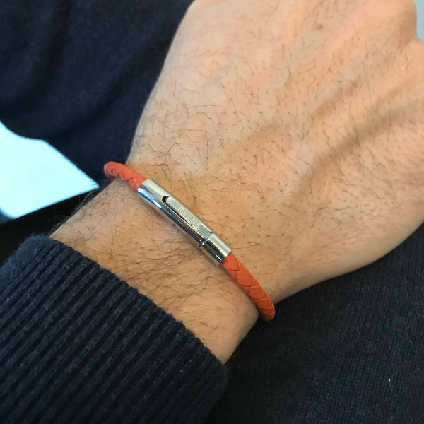 The Minimal - Koraal oranje leren armband (4mm)