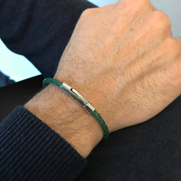 The Minimal - Groen leren armband (4mm)