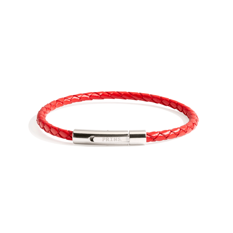 The Minimal - Amsterdams Rood leren armband (4mm)