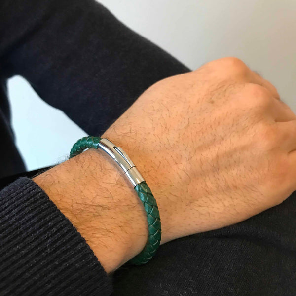 The Bold - Groen leren armband (6mm)