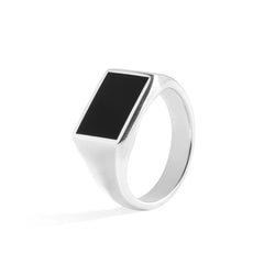 The Minimal - mini zegelring zilver en zwart agaat