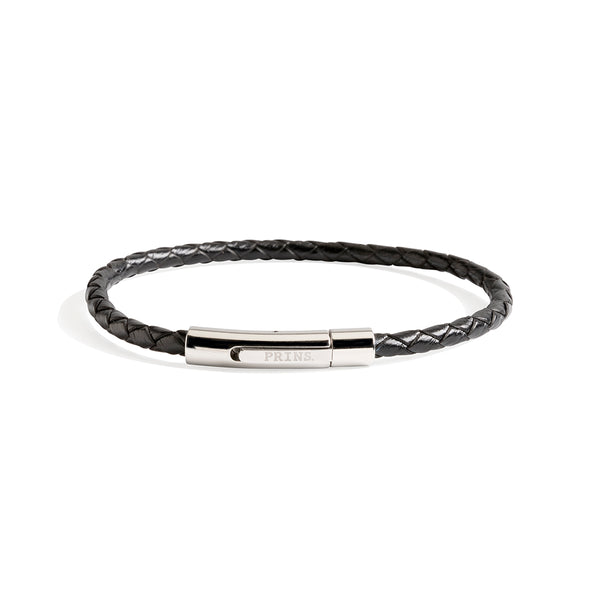The Minimal - Zwart leren armband (4mm)