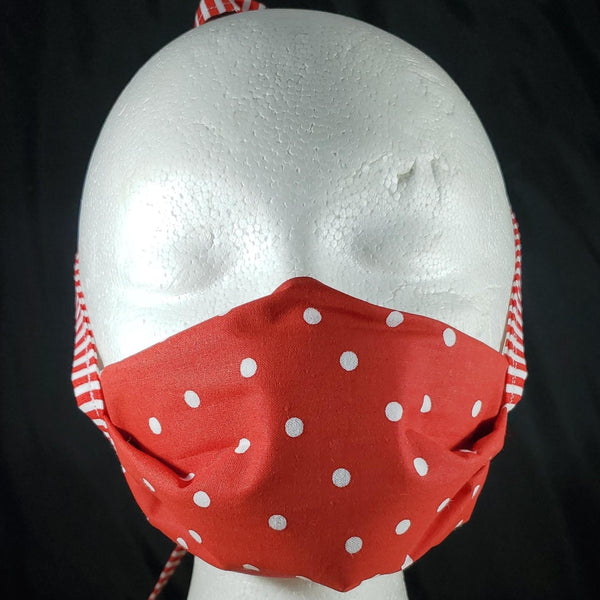 Red with White Polka Dots Cotton Face Mask