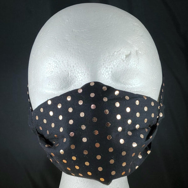 Black with Rose Gold Polka Dots Face Mask
