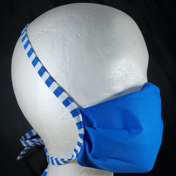 Solid Blue Cotton Face Mask