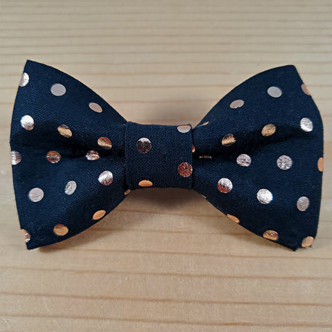 Black with Rose Gold Foil Polka Dots