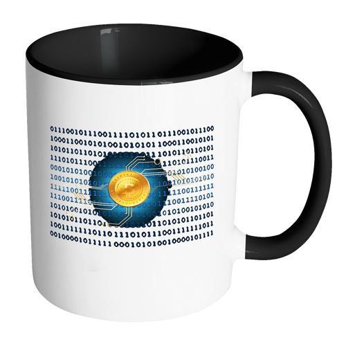 Bitcoin Binary Heart Accent Mug-Fashion For Crypto