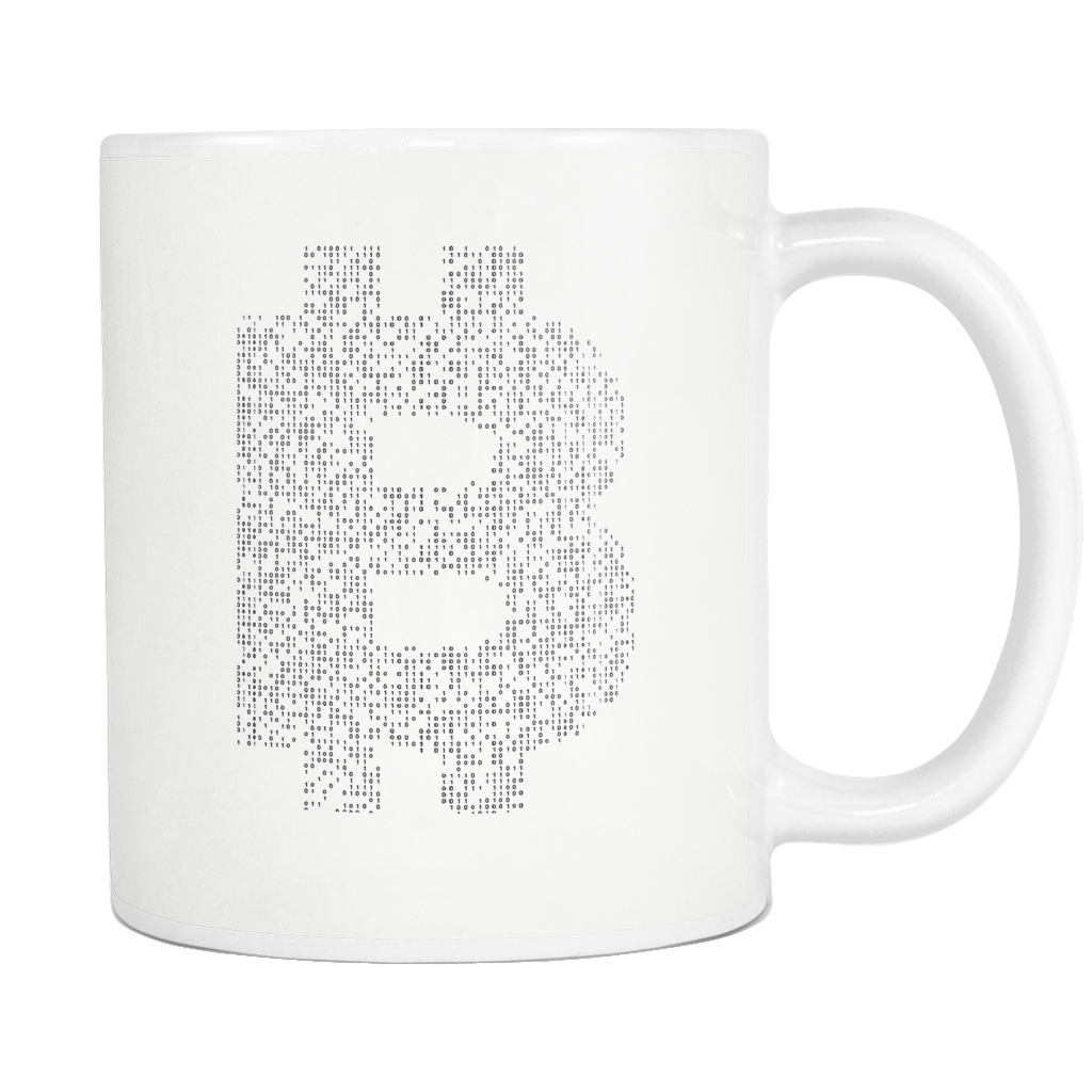 Bitcoin Binary Logo White Mug-Fashion For Crypto