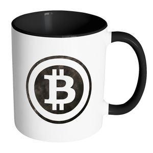 Bitcoin Black and White Logo Accent Mug-Fashion For Crypto