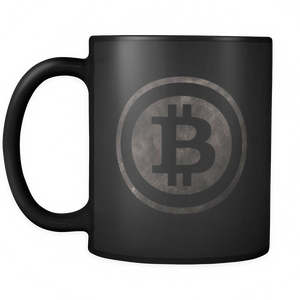Bitcoin Black and White Logo Black Mug-Fashion For Crypto