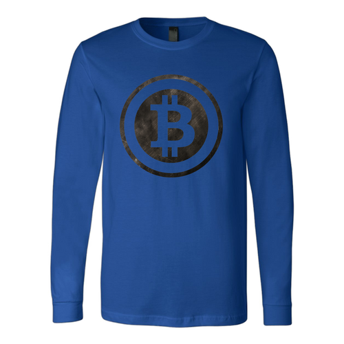 Bitcoin Black and White Logo Long Sleeve Shirt-Fashion For Crypto