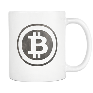 Bitcoin Black and White Logo White Mug-Fashion For Crypto