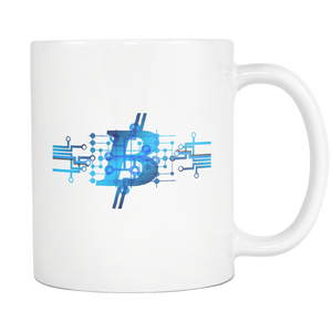 Bitcoin Circuit Logo White Mug-Fashion For Crypto