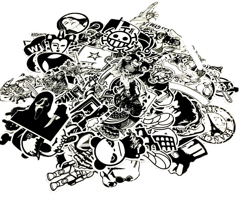 Stickerbomb Set In Black And White