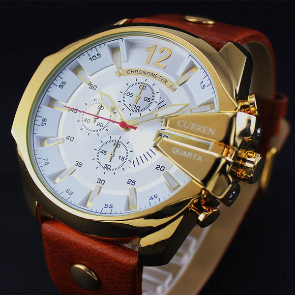 Timeless Time Leather Chrono Watch