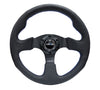 "NRG ""Race Style"" Leather Steering Wheel 320mm w/Blue Stitch"