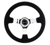 "NRG ""Race Style"" Suede Steering Wheel 350mm Chrome w/Red Baseball Stitch"