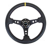 "NRG ""Deep Dish"" Leather Steering Wheel 350mm Yellow Strip w/Black Stitch"