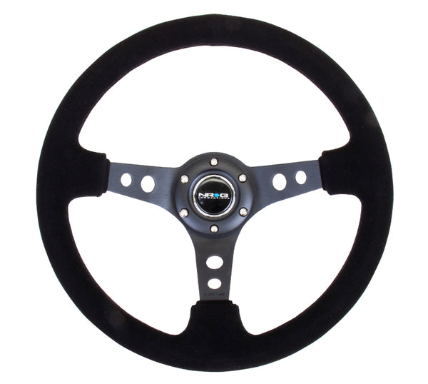 "NRG ""Deep Dish"" Suede Steering Wheel 350mm w/Black Stitch"