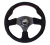 "NRG ""Race Style"" Suede Steering Wheel w/Red Stitch 320mm"