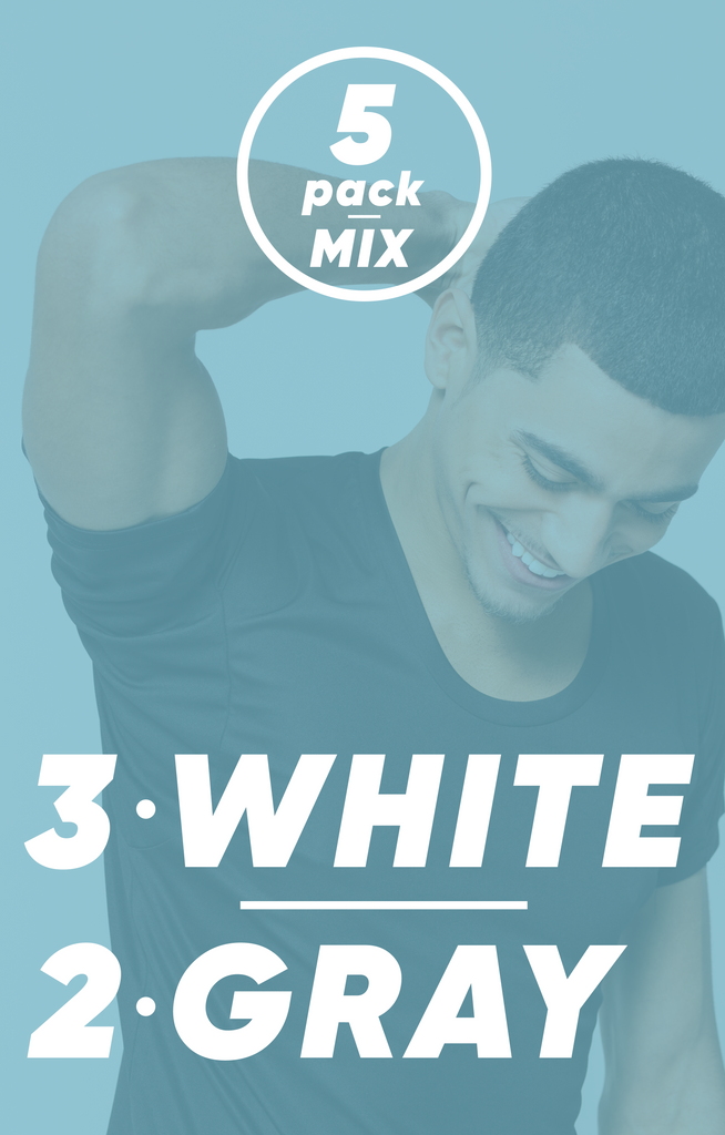 5-Pack Mix - 3 White, 2 Gray | Bundle
