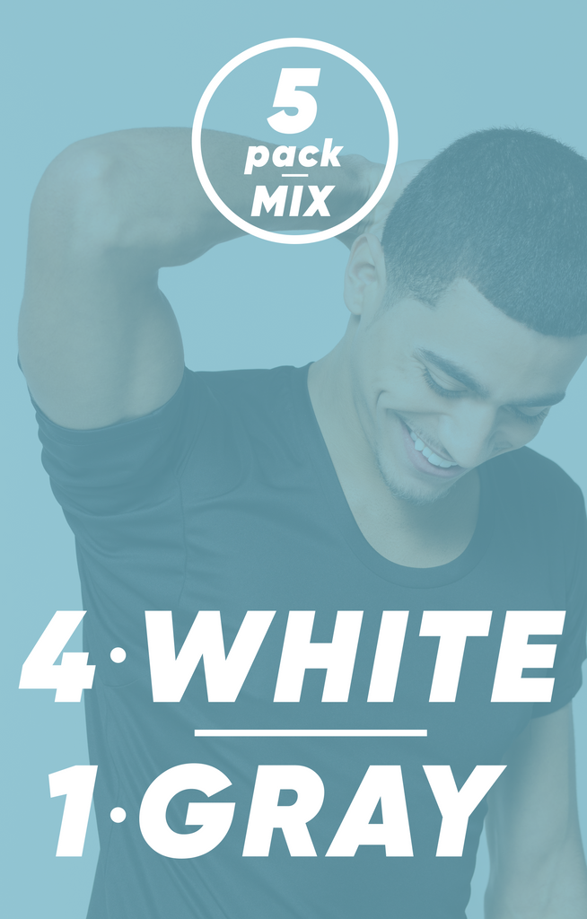 5-Pack Mix - 4 White, 1 Gray | Bundle
