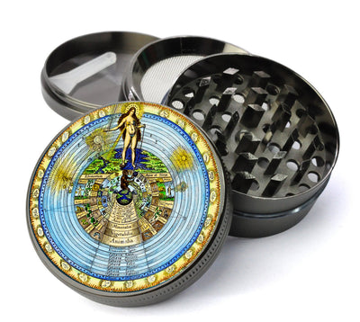 Ancient Cosmos Deluxe Metal 5 Piece Herb Grinder With Microfine Mesh Screen
