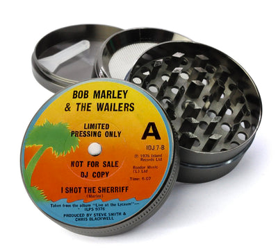 Bob Marley Vinyl LP Label - I Shot the Sherrif - Deluxe Metal 5 Piece Herb Grinder With Microfine Screen
