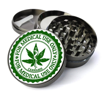 Medical Marijuana Label With Cannabis Leaf Extra Large 5 Piece Spice & Herb Grinder With Microfine Screen