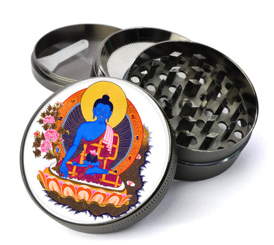 Medicine Buddha Deluxe Metal 5 Piece Herb Grinder With Fine Screen