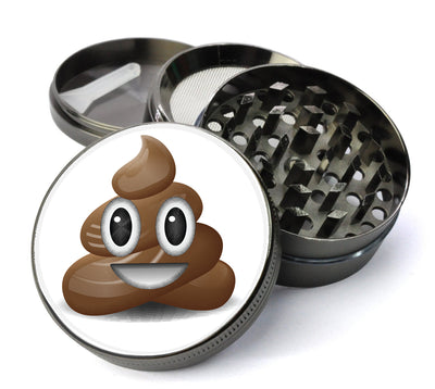 Poop Emoticon Large 5 Piece Spice & Herb Grinder With Microfine Mesh Screen