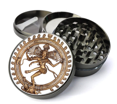 Dancing Shiva Nataraj Deluxe Metal 5 Piece Herb Grinder With Fine Screen