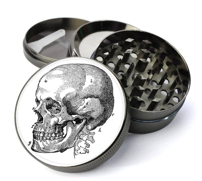 Illustrated Human Skull Large 5 Piece Spice & Herb Grinder With Microfine Screen