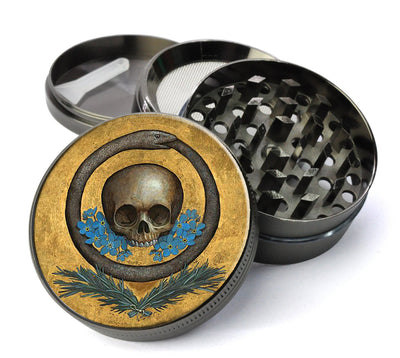 Skull, Snake and Flowers Extra Large 5 Piece Spice & Herb Grinder With Microfine Screen