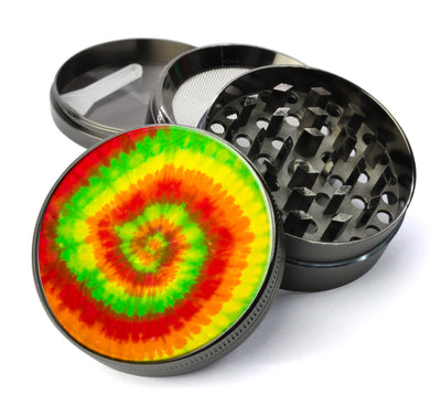 Peace, Love and Tie Dye #4 Metal 5 Piece Herb Grinder With Fine Screen - Create Your Own Grinder!