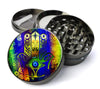 Psychedelic Hamsa Deluxe Metal 5 Piece Herb Grinder With Fine Screen - Create Your Own Grinder!