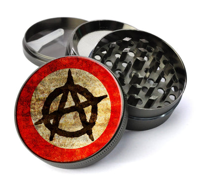 Anarchy Symbol Deluxe Metal 5 Piece Herb Grinder With Microfine Mesh Screen