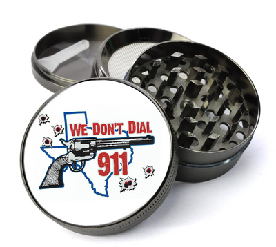 Texas We Don't Dial 911 Large 5 Piece Spice & Herb Grinder With Microfine Mesh Screen