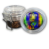 Airtight Stash Jar with Silicone Seal - Psychedelic Hamsa - Food-Grade Plastic with Locking Wire Top - Smell Proof Hermes Container