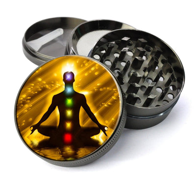 Chakra Meditation Extra Large 5 Piece Spice  Herb Grinder with / Catcher - Expression Tees