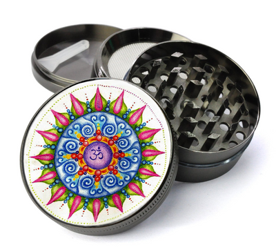 Om Mandala Colorful Deluxe Metal 5 Piece Herb Grinder With Fine Screen
