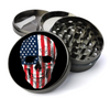 USA American Flag Skull Metal 5 Piece Herb Grinder With Fine Screen - Create Your Own Grinder!